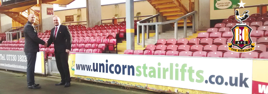 Unicorn Stairlifts Bradford City Sponsors 2016